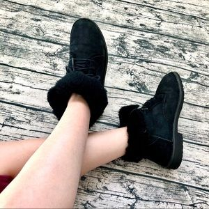 UGG⚡️Auth Black Suede Lace Up Booties_7/7.5/8/8.5